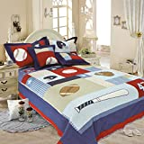 Liitrton Children's Bedspreads Set Basketball Baseball Soccer Pattern Cotton Quilt Sets with Pillow Cover