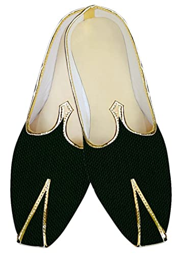 Mens Green Jute Wedding Shoes Bollywood MJ013988