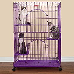"Pro Select Foldable Cat Cages 48"" High- Purple"