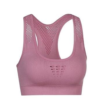 CYL Movimiento Mesh Hollow Sujetador Azul Mujer Rosa Transpirable Ejecutar Secado Rápido Yoga Cómodo Sujetador No Atado A Prueba De Golpes Sujetador Talla ...