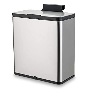 SUBEKYU Small Kitchen Trash Can with Lid, 1.5 Gallon Mini Metal Garbage Bin  Under Sink or Hanging on The Cabinet Door for Kitchen or Bathroom, Brushed  ...