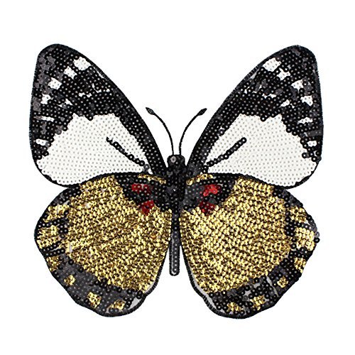 (Sew on Sequined Patch Animal Butterfly Sequin Patches Stickers for Clothes DIY Craft Sewing Supplies 22 x 22CM)