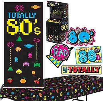 Beistle Totally 80s juego de decoración de fiesta con cubierta de puerta, mantel, recortes de los 80 y centro de mesa de juego de arcade: Amazon.es: Juguetes y juegos