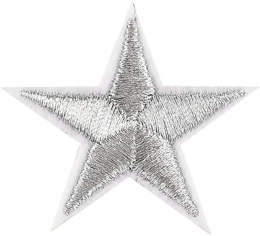 YA-Uzeun 10 parches bordados con dise/ño de estrellas plateadas para pegar con plancha