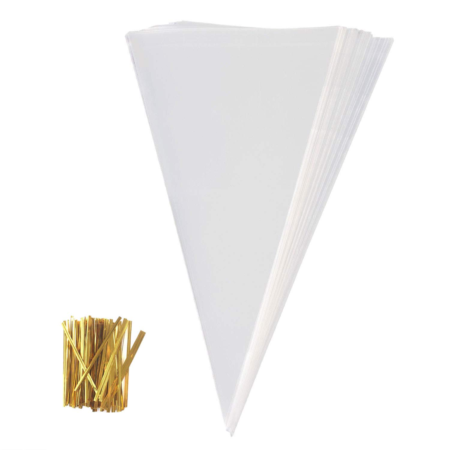 ExeQianming Cellophane Bag Sweets Clear Cone Bags and Ties for Party Christmas Festivals 50 Pcs