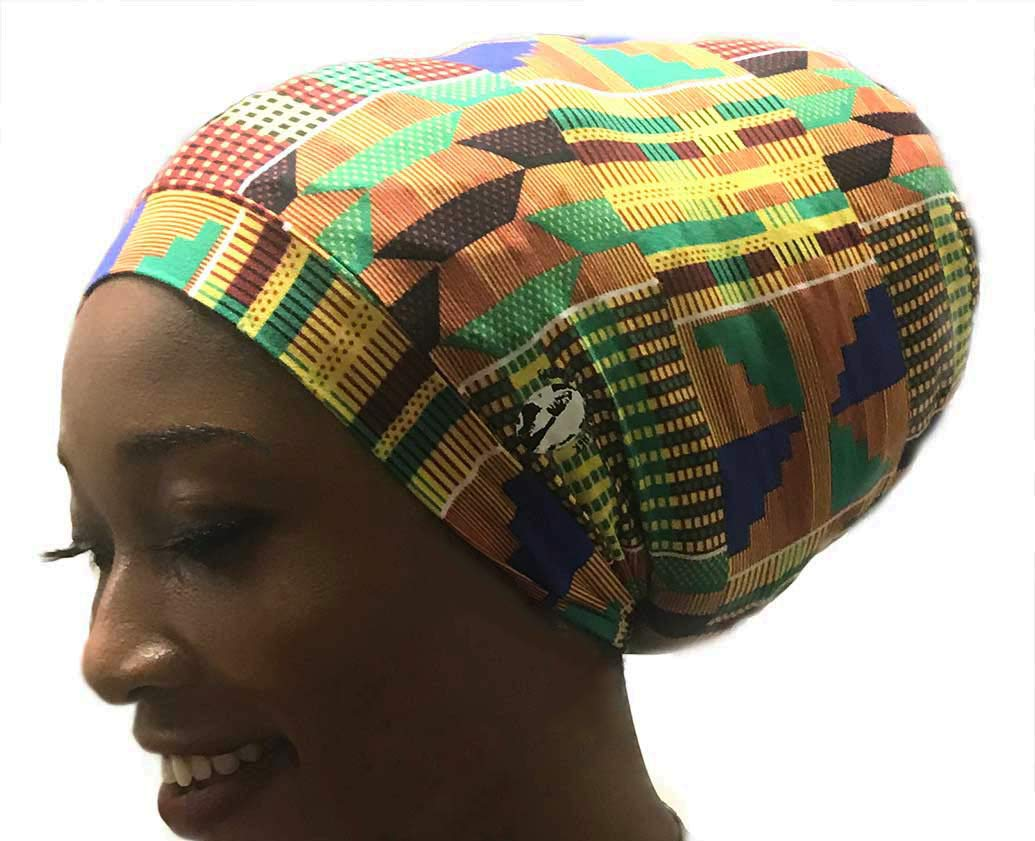 Fairy Black Mother Dreadlocks Locs Cap (African kente Large,yellow) by My Fairy Black Mother (Image #4)