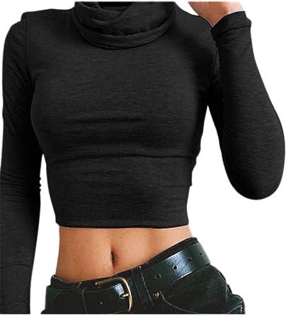 Las Mujeres De Cuello Alto Manga Larga Crop Top Bodycon T Shirt ...