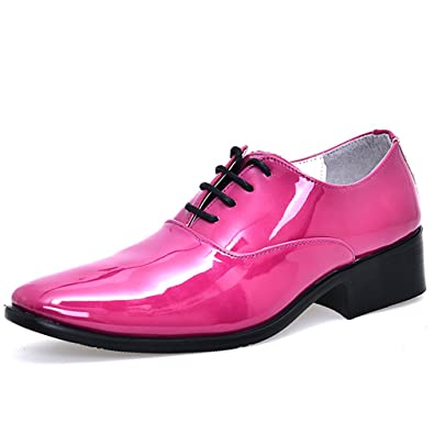 cheap man wedding shoes solid orange rose red blue wine red color mens  glossy party shoes