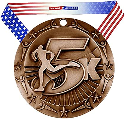 Decade Awards 5K World Class Engraved Medal - 3 Inch Wide 5000 Meter  Medallion with Stars and Stripes American Flag V Neck Ribbon - Customize Now