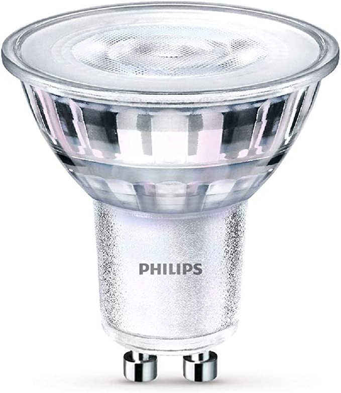 Image ofPhilips - Bombilla LED Foco GU10 Cristal, 5 W Equivalente a 65 W, Luz Blanca Neutra, No  Regulable - Pack de 1           [Clase de eficiencia energética A++]