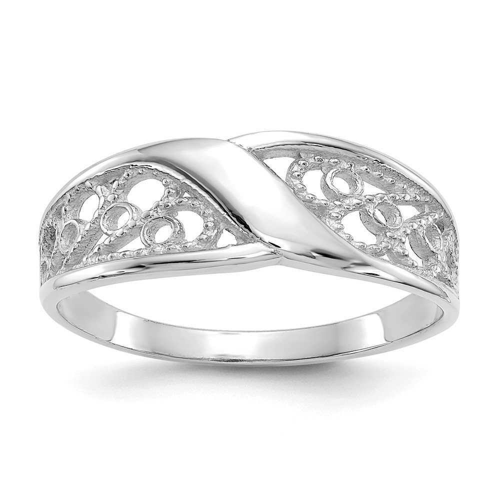 14k White Gold Filigree Band Ring Size 6.00 Fine Jewelry Gifts For Women For Her