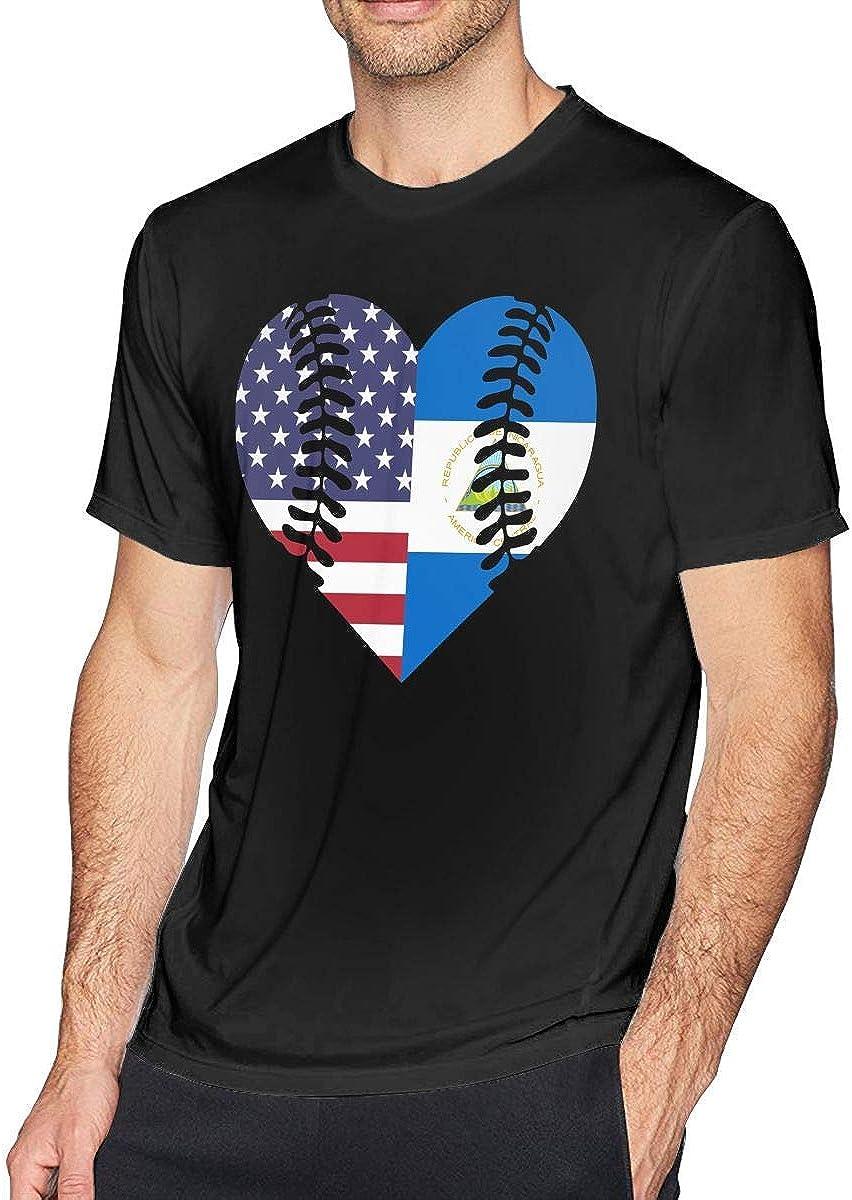 Hombres Nicaragua Bandera de Estados Unidos Béisbol Medio Estampados de algodón Camiseta de Manga Corta Casual 4XL: Amazon.es: Ropa y accesorios