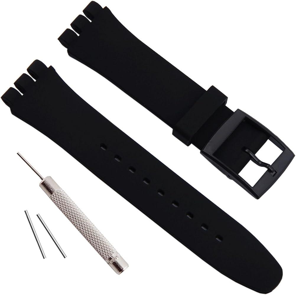 éclatant bonne qualité dessins attrayants étanche en caoutchouc de silicone Bracelet de montre Watch Band pour Swatch  (17 mm X 19 mm 20 mm)