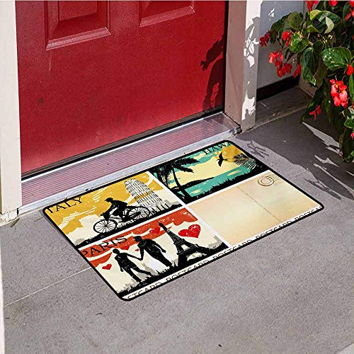 Jinguizi Retro Inlet Outdoor Door mat Postcards from Italy Hawaii Paris Exotic Places in The World Nostalgic Times Print Catch dust Snow and mud W35.4 x L47.2 Inch Multicolor