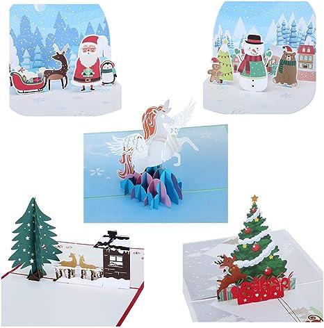 Amazon.com: Tarjetas de felicitación de Navidad 3D ...
