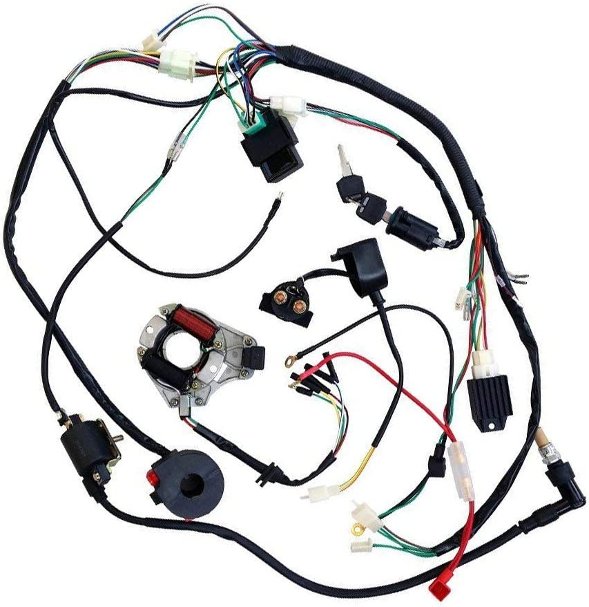 Full Wiring Harness Loom Solenoid Coil Regulator 50cc 70cc 90cc 110cc 125cc Dirt Pit BIke Electric Start Engine
