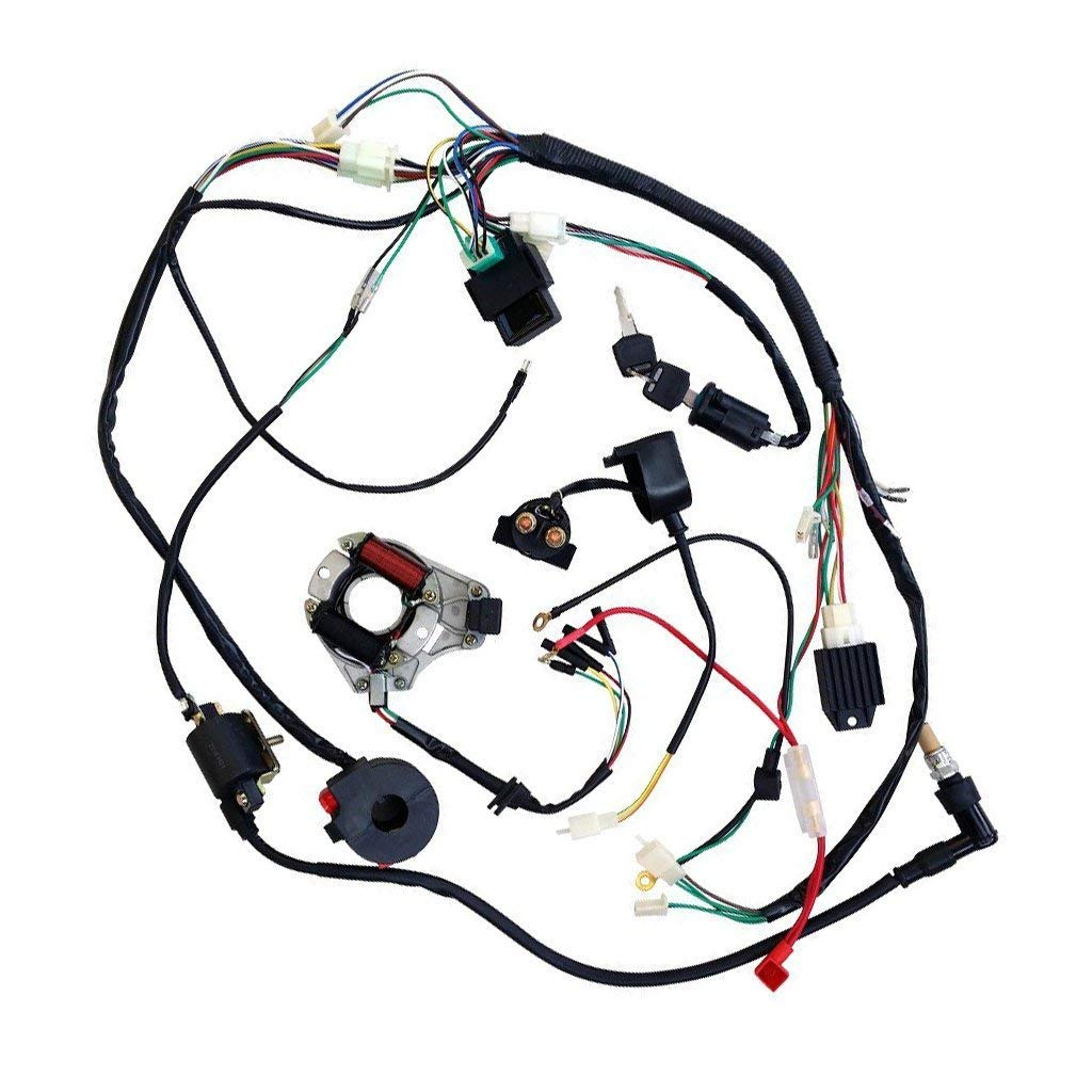 Jcmoto Full Wiring Harness Loom Kit Cdi Coil Magneto Pit Bike Ignition Killswitch Electrics Kick Start Engine For 50cc 70cc 90cc 110cc 125cc Atv Quad Buggy Go Kart Dirt