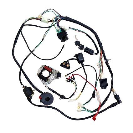 Amazon.com: ZXTDR Full Wiring Harness Loom Kit CDI Coil ... on dodge sprinter engine harness, suspension harness, bmw 2 8 engine wire harness, engine harmonic balancer, oem engine wire harness, engine control module, hoist harness,