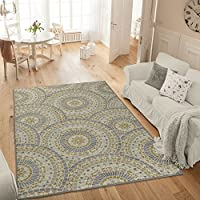 Ottomanson Studio Collection Mosaic Medallion Design Area Rug, 50 X 60, Grey