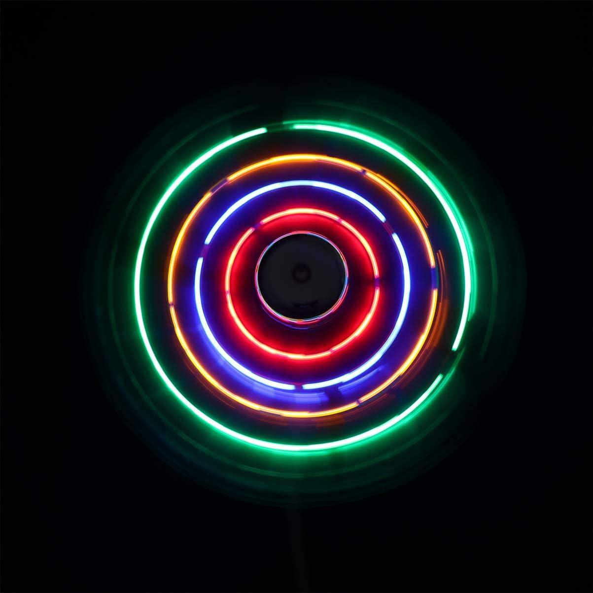Silver OSALADI Mini USB Fan with 64 Colorful LED Patterns Circular Display Summer Necessary