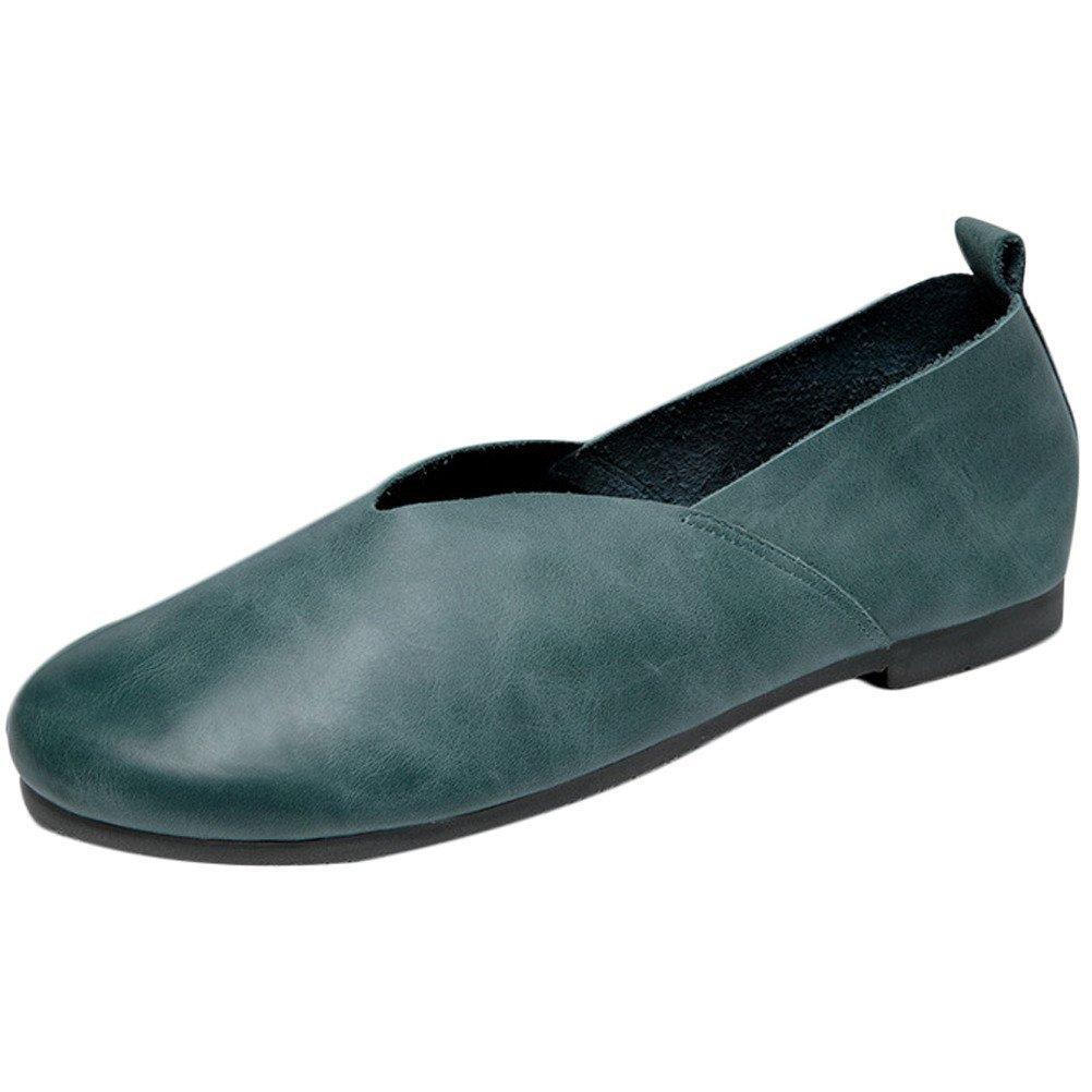 Vogstyle Damen Neuen Farbe Leder Flache Schuhe Plain Farbe Neuen Grün-Art 1 39650f