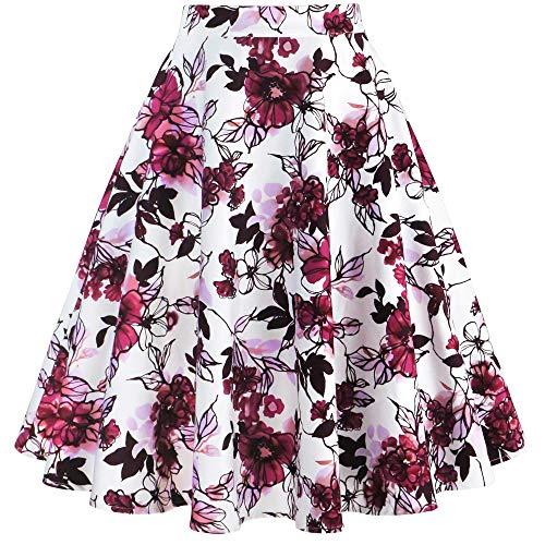 (Tailloday 1950's Vintage Full Circle Pleated Floral A Line Midi Skirt (M, Multi-7))