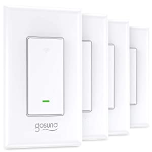Smart Switch, Gosund Smart WiFi Light Switch Works with Alexa and Google Assistant 2.4Ghz, Remote Control/Voice Control and Schedule, Neutral Wire Required, Single-Pole, No Hub Required, (4 Pack)