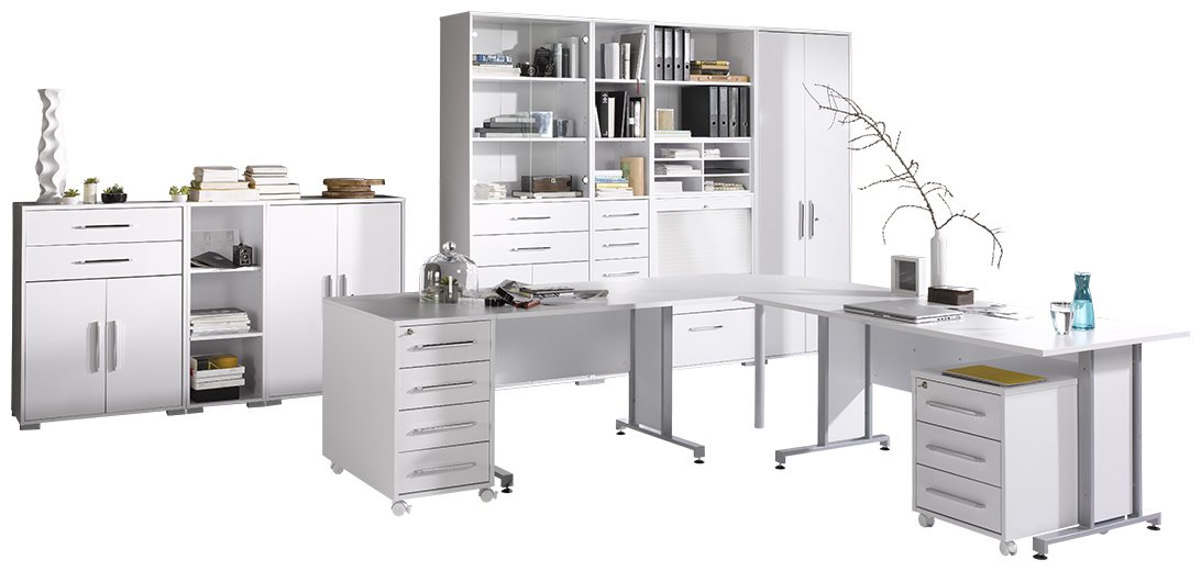 Maja 12083956 1208 Office System Icy-White, High-Gloss White: Amazon ...