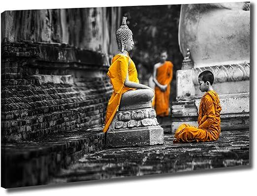 Framed Print Black /& White Buddhist Monk in Meditation Picture Poster Buddha