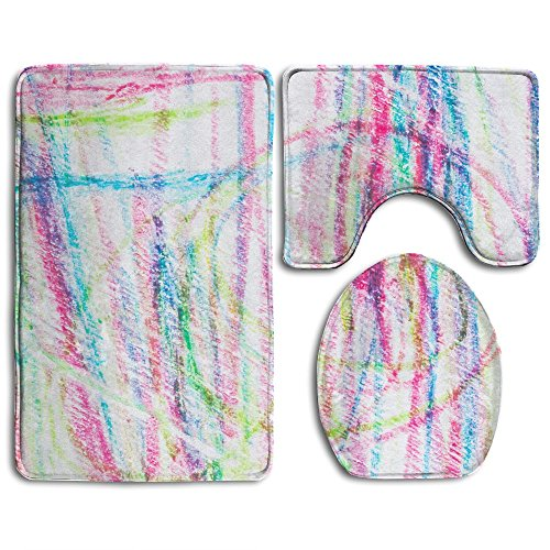 Crayons Rug - HanSmallT Abstract Colorful Crayons Scribble Grunge Background White Non Slip 3 Piece Bath Rug Set Pedestal Rug + Lid Toilet Cover + Bath Mat Customized Artwork Print