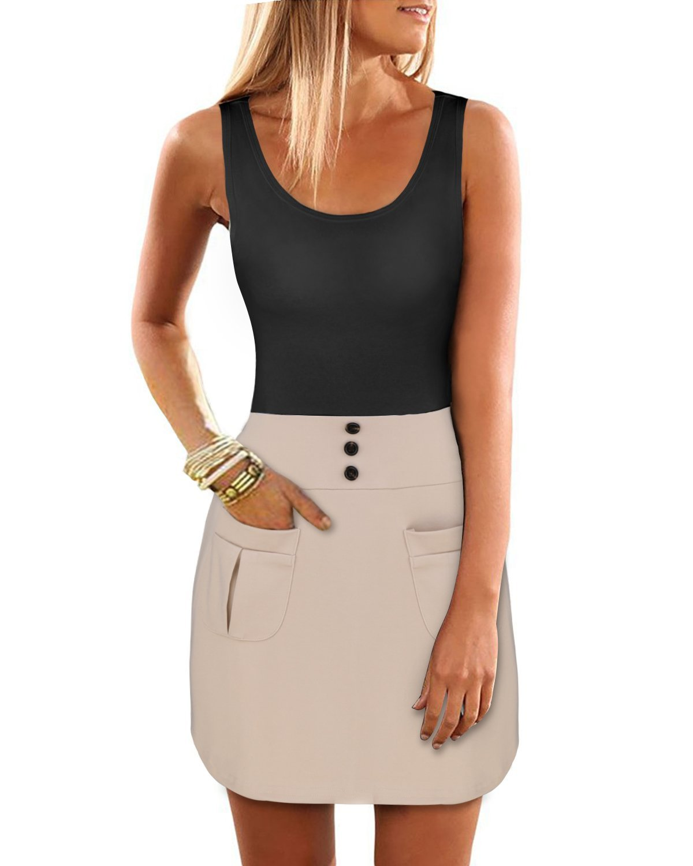 OUGES Women's Long Top Blouse Summer Sleeveless Mini Dress(Black,S)