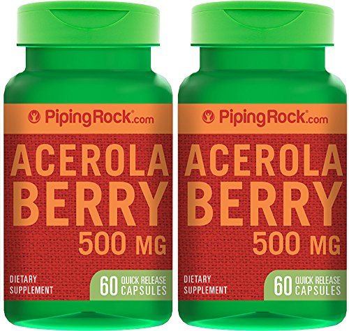 Piping Rock Acerola Berry 500 mg 2 Bottles x 60 Quick Release Capsules Dietary Supplement (Berry Rocks)