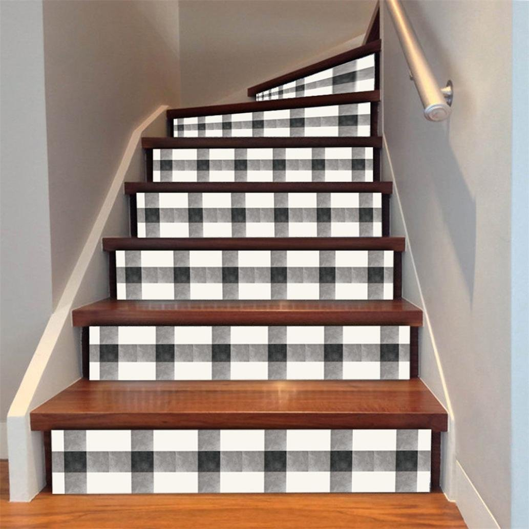 Stair decals staircase stair riser floor sticker plaid diy tile decals home decor staircase decal stair mural decals 6pcs amazon com grocery gourmet