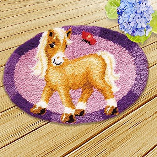 DIY Latch Hook Kit Rug Crochet Yarn Kit Cushion Embroidery Carpet Set (Purple Horse,21×21″ (52X52cm)