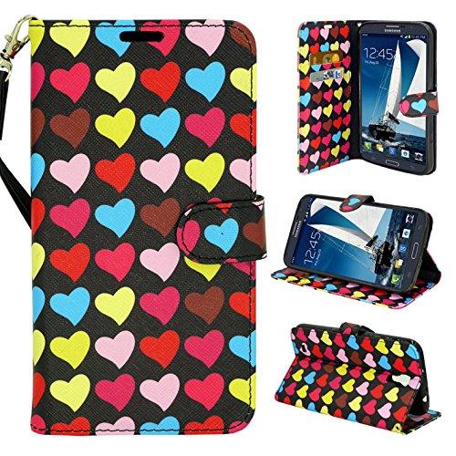Galaxy Mega 1st Generation, Flip Wallet Design Case Cover, Customerfirst Cover Folio Stand for Samsung Galaxy Mega 6.3 (I9200) Free Emoji Keychain (Candy Crush)