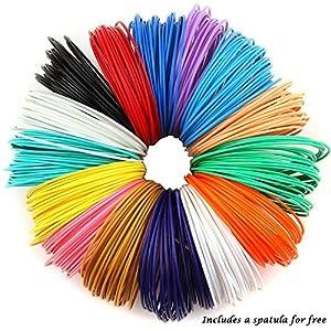 PLASFIL 15 Vibrant Colors 3D Pen Filament Refills 1.75mm ABS Filament Pack 20Feet Each Color by PLASFIL