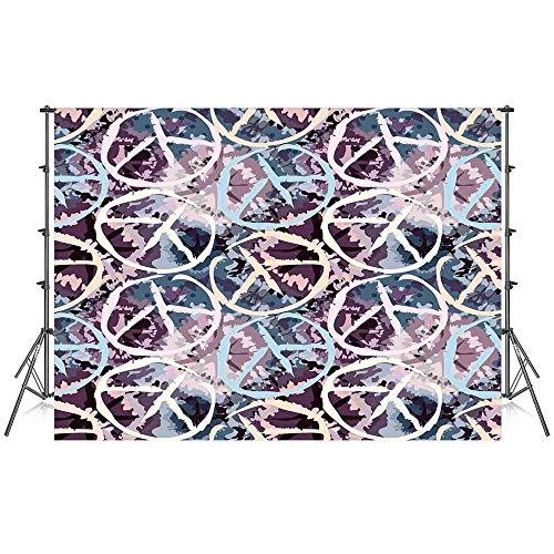 Batik Decor Stylish Backdrop,Digital Pacific Symbol on Batik Backdrop with Blocked Out Color Splashes Art Design for Photography Festival Decoration,59''W x 39''H