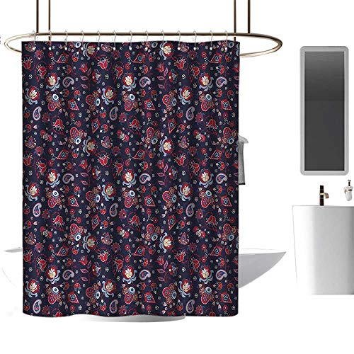 Qenuan Home Decor Shower Curtain by Asian,Eastern Inspired Floral Illustration Abstract Fantastic Ornamental Paisleys,Dark Blue Red Cream,for Bathroom Showers, Stalls and Bathtubs 47