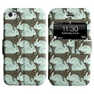 LEOCASE conejo blanco Funda Carcasa Cuero Tapa Case Para Apple iPhone 4 / 4S No.1004281