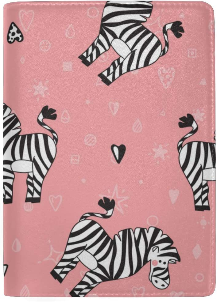 Passport Cover For Women Carton Cute Zebras In A Doodle Style Stylish Pu Leather Travel Accessories Passport Cover With Card Holder For Women Men
