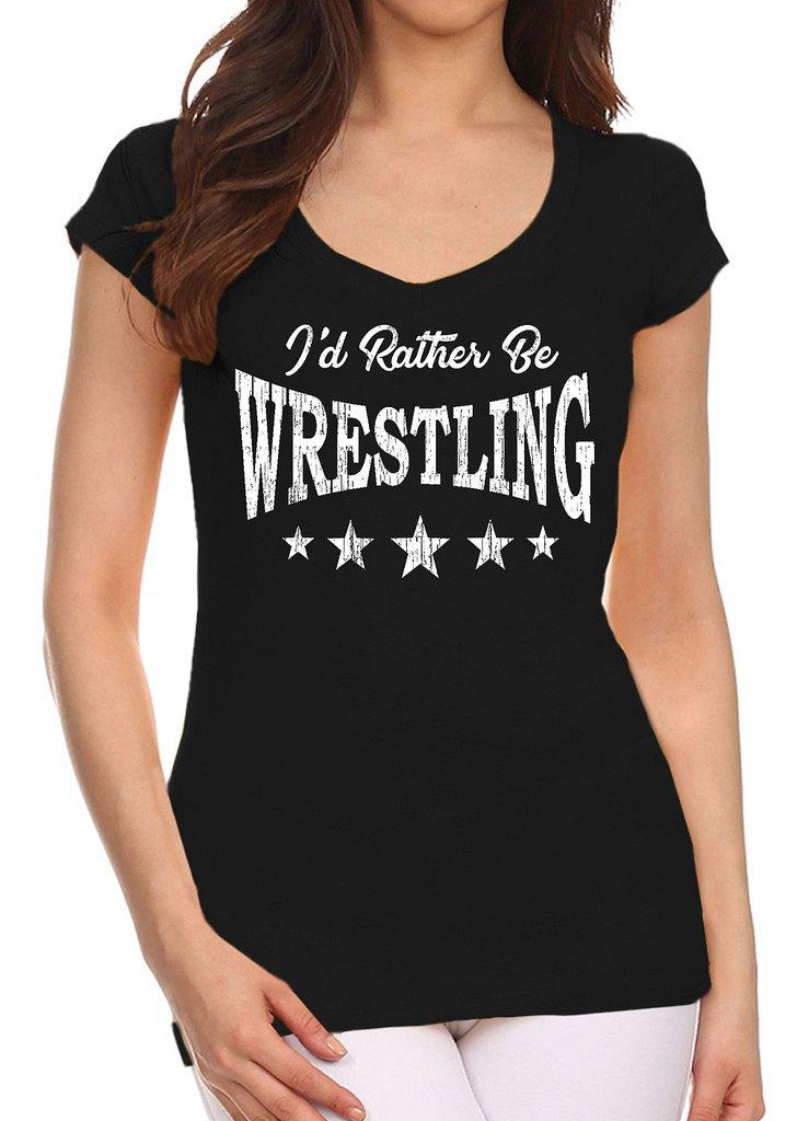 Junior's I'd Rather Be Wrestling Black V-Neck T-Shirt 2X-Large Black