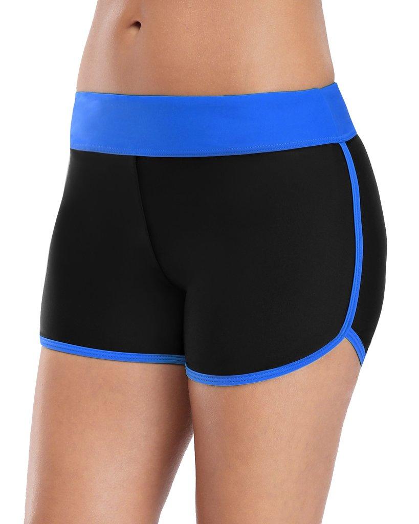 Sociala Stretch Board Shorts Women's Swimwear Black High Waisted Swim Bottoms XL