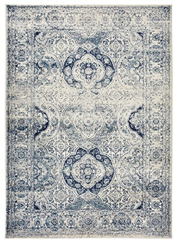 Studio Collection Vintage French Aubusson Design Contemporary Modern Area Rug Rugs 3 Different Color Options (Aubusson Ivory / Navy, 8 x 10)