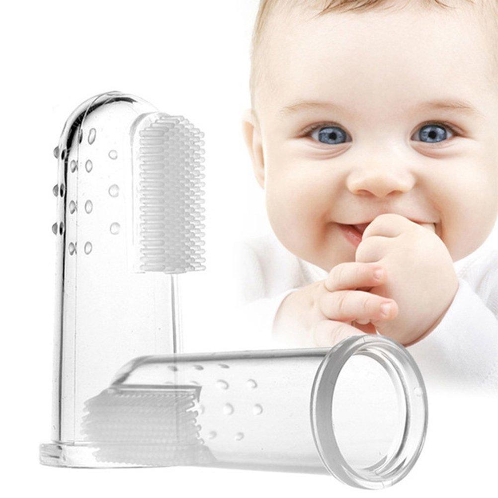 ounona 2pcs bebé cepillo de dientes Oral masajeador infantil Finger Cepillo de dientes limpieza dentición: Amazon.es: Hogar