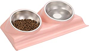 Suhaco Dog Bowl Cat Food Bowls Double Raised Pet Elevated Stainless Steel Feeder with Tilted Stand (Pink)