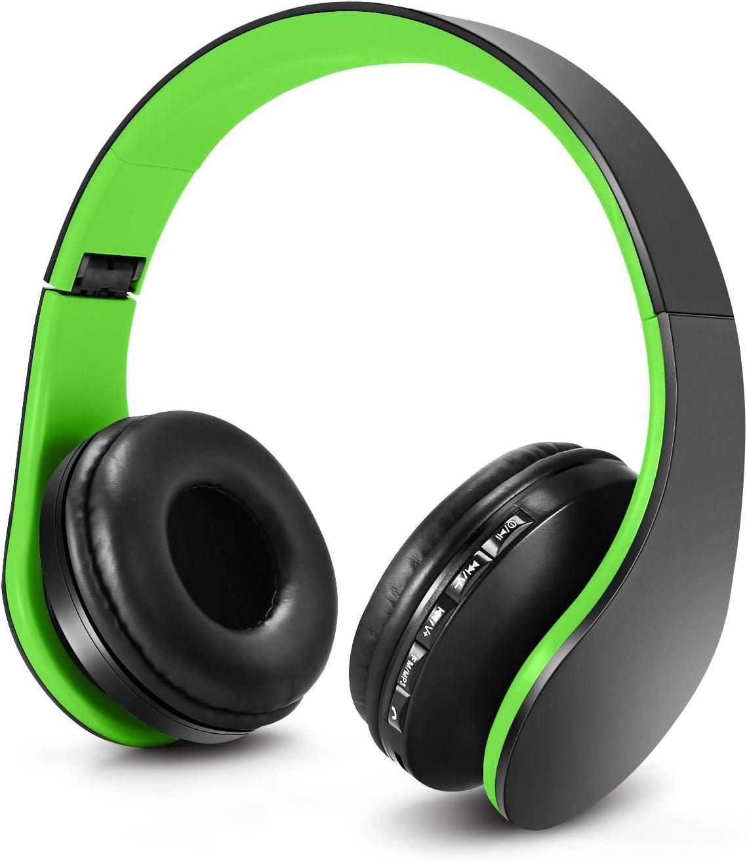 Auriculares Bluetooth para niños, Auriculares Plegable para niños con Volumen Limitado, niñas y niños, Auriculares Ajustable y Plegable con micrófono-Verde Negro