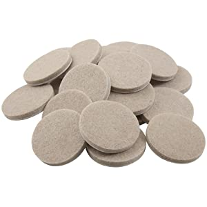 softtouch 4718395N 1-1/2 Inch, Linen, 24 Pack Heavy Duty Felt Furniture Pads-Protect Hardwood and Linoleum Floors frim Scratches, 24 Piece