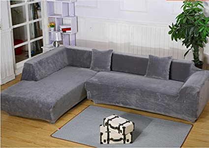 Amazon.com: getmorebeauty Gray L Shape Sectional Thick Plush ...