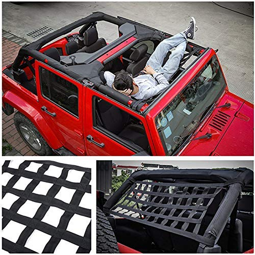 MiaZhou Heavy Duty Cargo Roof Top Soft Cover Rest Bed Hammock for Jeep Wrangler JK 07-18