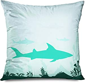 CHARLLR Pillow Cover Danger Awaresome Fish Underwater Design Elegant Water Coral On Sharks Hunting Swordfish Fishing Throw Cushion Pillow Case Home Decor Zippered Pillowcase 18 x 18 Inches